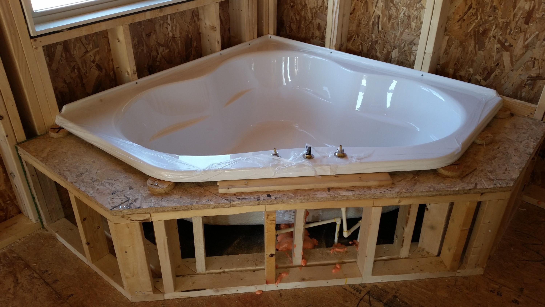 Corner Tub at rough-in